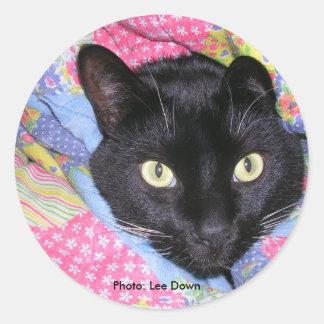 円形のステッカー: 毛布で包まれたなおもしろいな猫 丸形シール・ステッカー