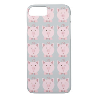 円形のピンクのブタパターン iPhone 8/7ケース