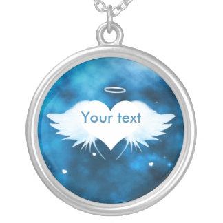 円形の吊り下げ式のネックレス-ハートの天使 シルバープレートネックレス