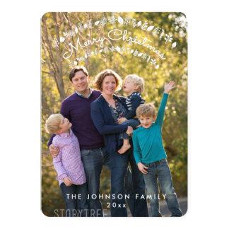 円形の名前入りなメリークリスマスの写真カード 12.7 X 17.8 インビテーションカード