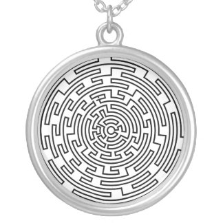 円形の当惑 シルバープレートネックレス
