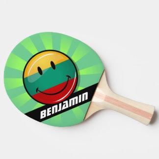 円形の微笑のリトアニアの旗 卓球ラケット