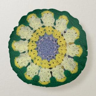 円形の枕-デイジーパターン ラウンドクッション