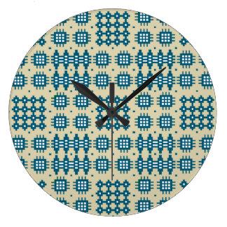 円形の柱時計: ウェールズのタペストリーパターン、海軍 ラージ壁時計