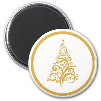 円形の磁石の金ゴールドのクリスマスツリー マグネット