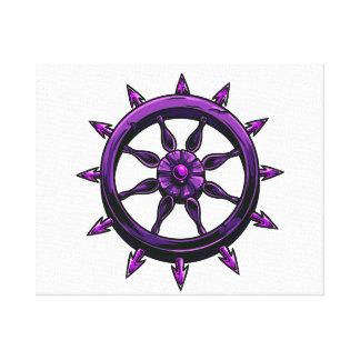 円形の船の車輪のグラフィックpurple.png キャンバスプリント
