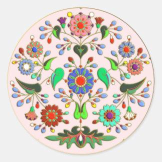 円形の花の幸せなオーナメント ラウンドシール