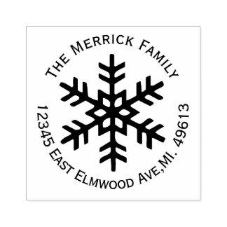 円形の雪片の差出人住所のゴム印 ラバースタンプ