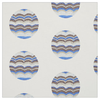 円形の青いモザイクによってとかされる綿織物 ファブリック
