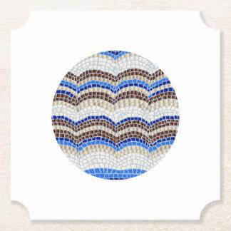 円形の青いモザイクチケットの紙のコースター ペーパーコースター