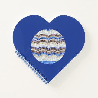 円形の青いモザイクハートの螺線形ノート ノートブック