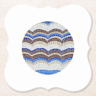 円形の青いモザイクブラケットの紙のコースター ペーパーコースター
