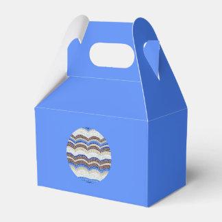 円形の青いモザイク切り妻の好意箱 フェイバーボックス