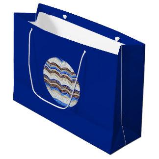 円形の青いモザイク大きい光沢のあるギフトバッグ ラージペーパーバッグ