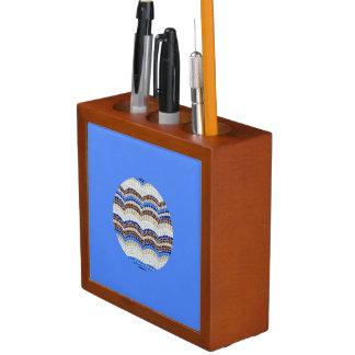 円形の青いモザイク机のオルガナイザー ペンスタンド