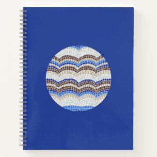 円形の青いモザイク螺線形ノート ノートブック