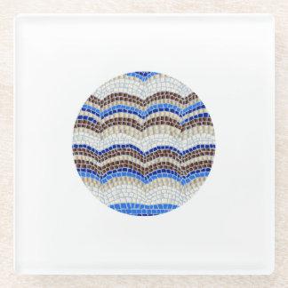 円形の青いモザイク・ガラスのコースター ガラスコースター