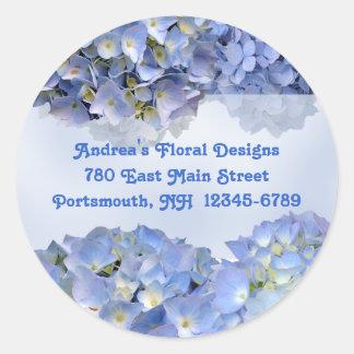 円形の青い花の差出人住所ラベル ラウンドシール