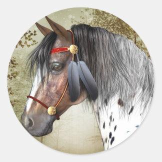 円形インドの子馬のステッカー- ラウンドシール