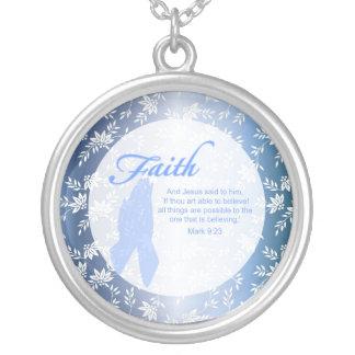 円形カスタムなキリスト教のネックレス- シルバープレートネックレス