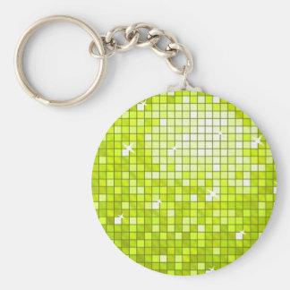 円形ディスコのタイルのライムのkeychain キーホルダー