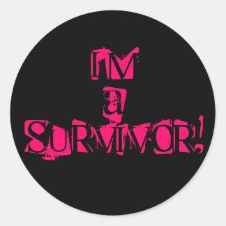 円形ピンクか黒い生存者のステッカー- ラウンドシール
