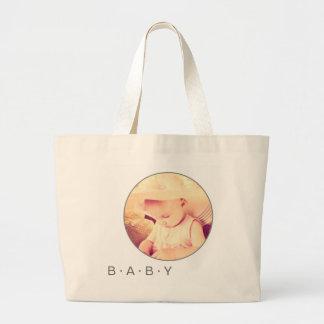 円形ベビーの写真のカスタム ラージトートバッグ