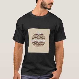円形ベージュモザイク人の基本的な暗いTシャツ Tシャツ