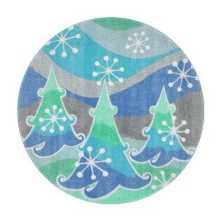 円形冬の木のまな板 カッティングボード