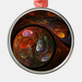 円形流動つながりの抽象美術 メタルオーナメント