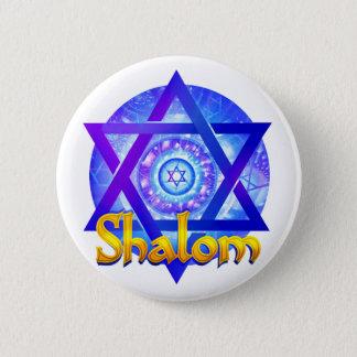 円形浮彫りダビデの星とのSHALOM 5.7CM 丸型バッジ