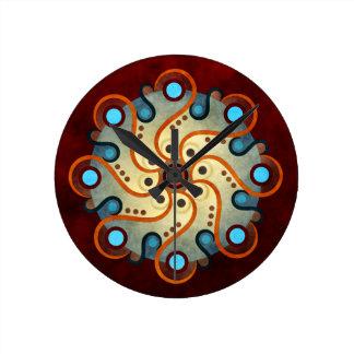 円形青い花柄の抽象芸術のベクトル芸術 ラウンド壁時計
