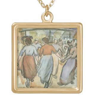 円形、c.1884 (w/c紙で) ゴールドプレートネックレス