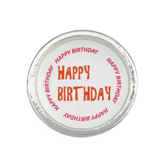 円形happyBIRTHDAYのハッピーバースデーのピンクの円 指輪