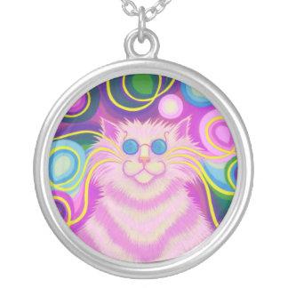 円形Psy猫delicのピンクのネックレス シルバープレートネックレス