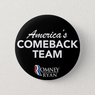 円形Romneyライアンアメリカのカムバックのチーム(黒) 5.7cm 丸型バッジ