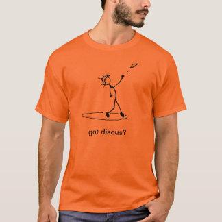 """円盤投げ選手の棒の人のTシャツは""""円盤投げを得ましたか。"""" Tシャツ"""
