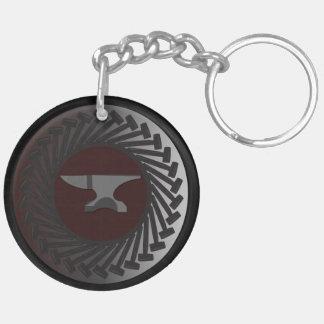 円(両面の) Keychain -金敷及びハンマー キーホルダー