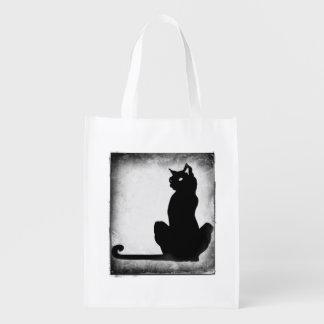 再使用可能なハロウィンの黒猫の御馳走バッグ エコバッグ