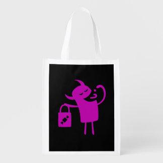 再使用可能なハロウィン紫色モンスターの御馳走バッグ エコバッグ