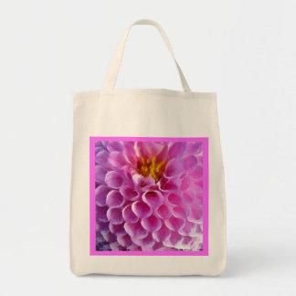 再使用可能なピンクのダリアの花のマクロ トートバッグ
