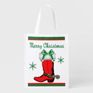 再使用可能な買い物袋のカウボーイ・ブーツのメリークリスマス エコバッグ