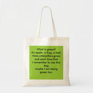 再使用可能な「緑のバッグ」。 トートバッグ