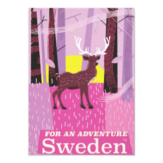 冒険のスウェーデンレトロ旅行ポスターのため カード