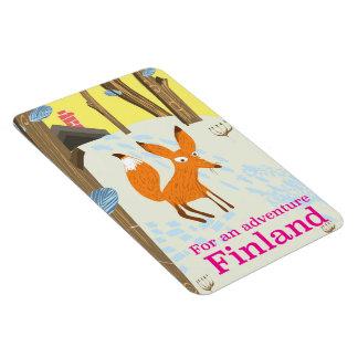 冒険のフィンランドレトロ旅行ポスターのため マグネット