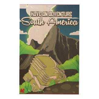 冒険の南アメリカポスターを持って下さい ウッドウォールアート