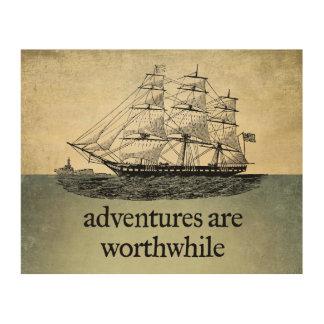冒険は価値があります ウッドウォールアート