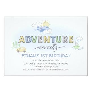 冒険は写真の誕生日の招待状を待ちます カード