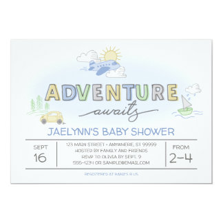 冒険は旅行ベビーシャワーの招待状を待ちます カード