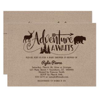 冒険は荒野のベビーシャワーの招待状を待ちます カード